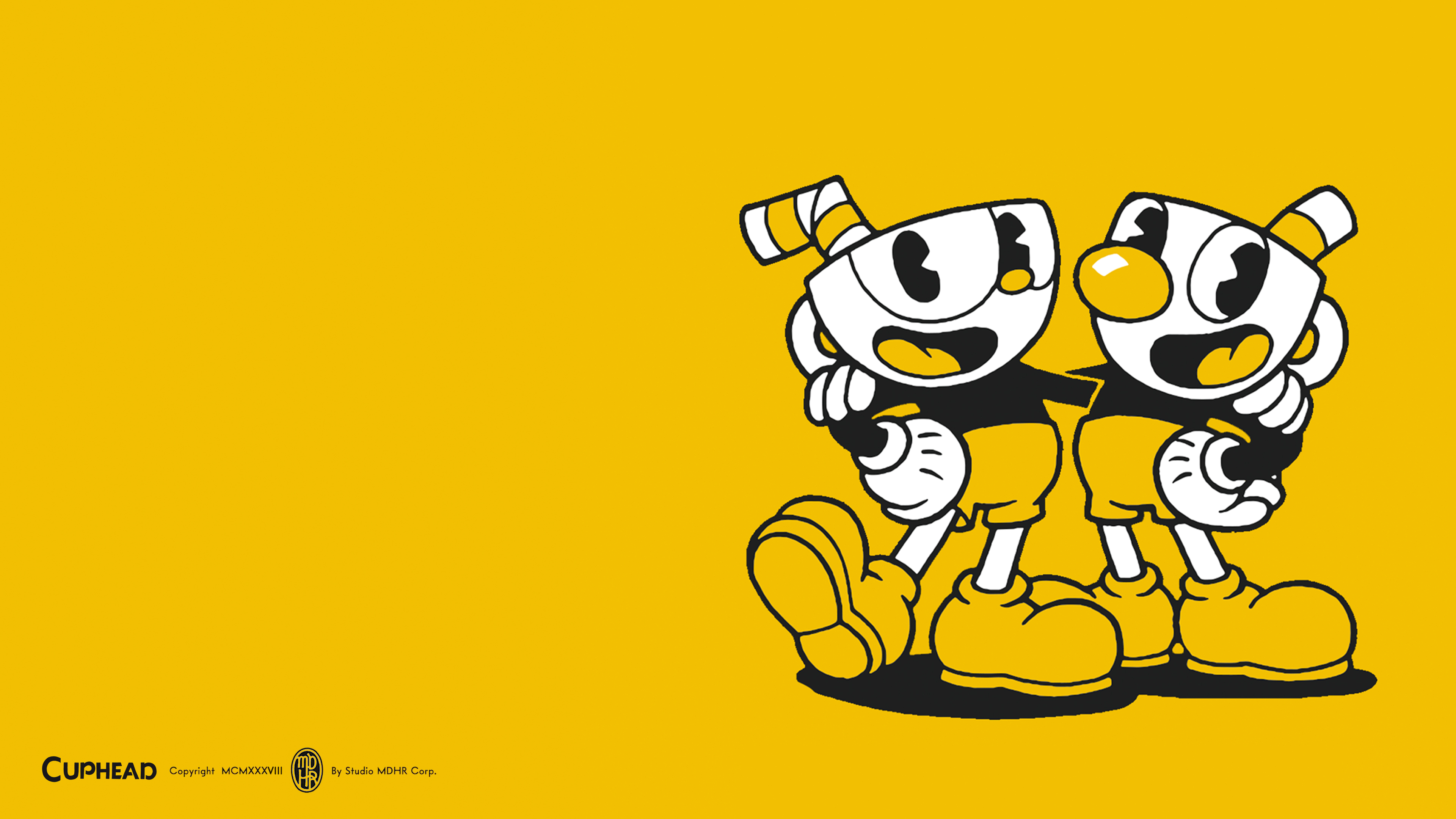 Cuphead and Mugman Monochrome Wallpaper