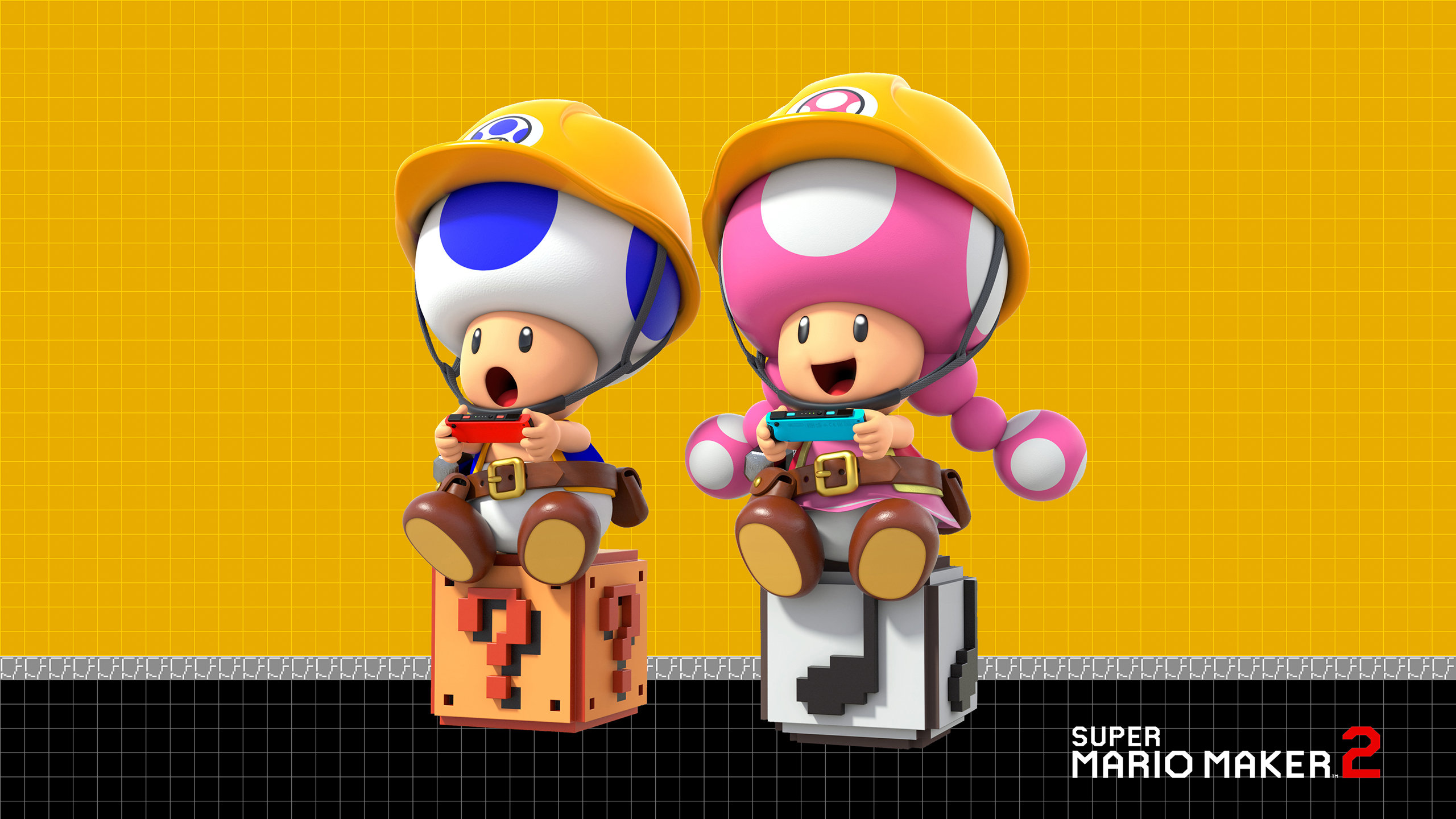 Super Mario Maker 2 Toad And Toadette Wallpaper Cat With Monocle