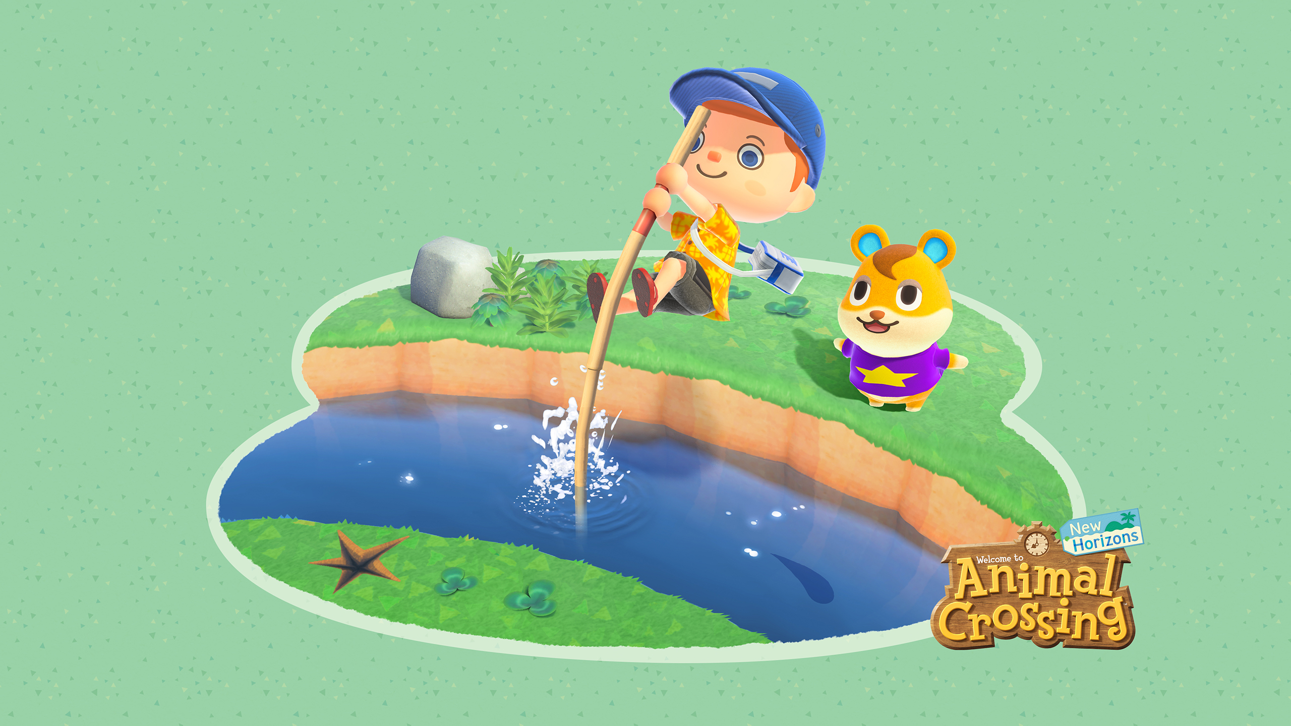 Animal Crossing New Horizons Water Jump Wallpaper Cat With Monocle