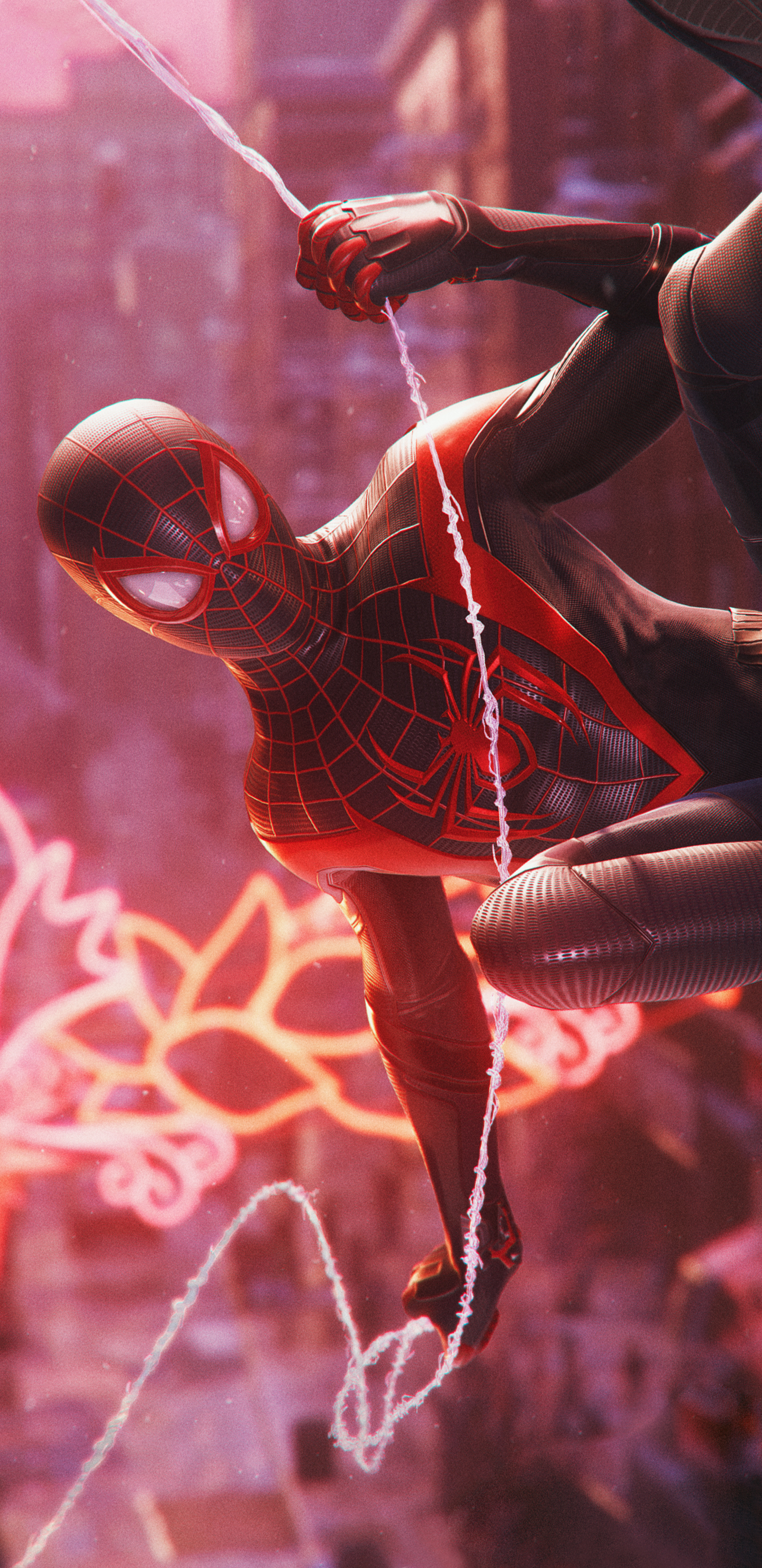 Spider Man Miles Morales Swing Wallpaper Cat With Monocle